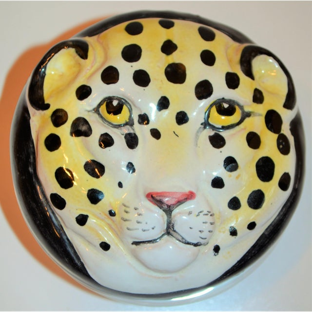 Vintage Italian Leopard Face Trinket Box For Sale - Image 4 of 6