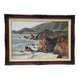 Image of California Coastal Seascape Oil Painting by Weber C.1970s For Sale