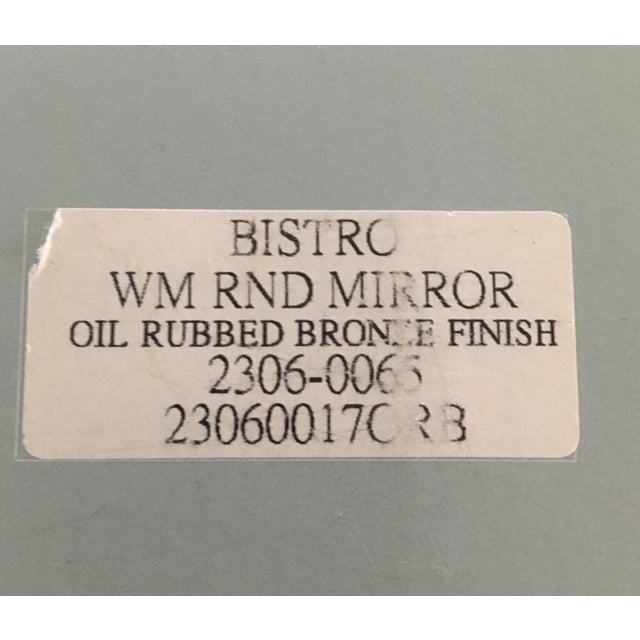 Restoration Hardware Bistro Oil Rubbed Bronze Wall Mount Round Bathroom Mirror For Sale In New York - Image 6 of 8