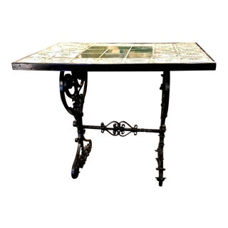 Wrought Iron Antique Tile Top Table For Sale