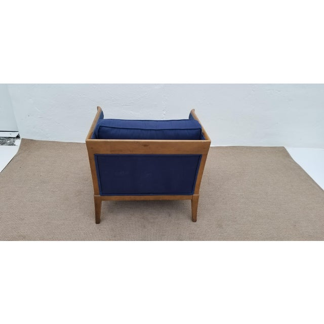 Blue 1970s Mid-Century Modern Barrel Back Club Lounge Chair For Sale - Image 8 of 12