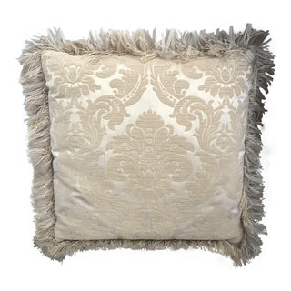 "22"" Gold and Cream Brocade Decorative Pillow With Ribbon Fringe For Sale"