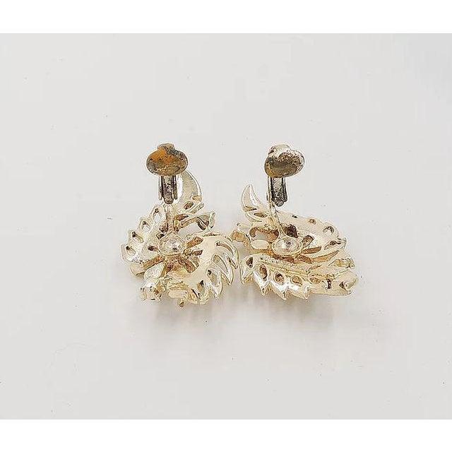 Early 1950s Corocraft Rhinestone Flower Earrings For Sale In Philadelphia - Image 6 of 7