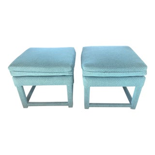 Modern Teal Ottomans - a Pair For Sale