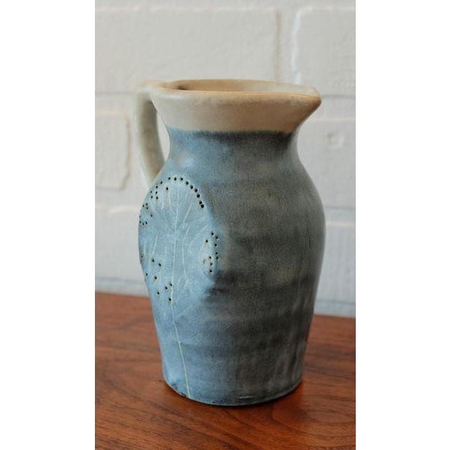 Mid-Century Puerto Rican Pottery Blue Studio Pottery Pitcher For Sale - Image 4 of 6