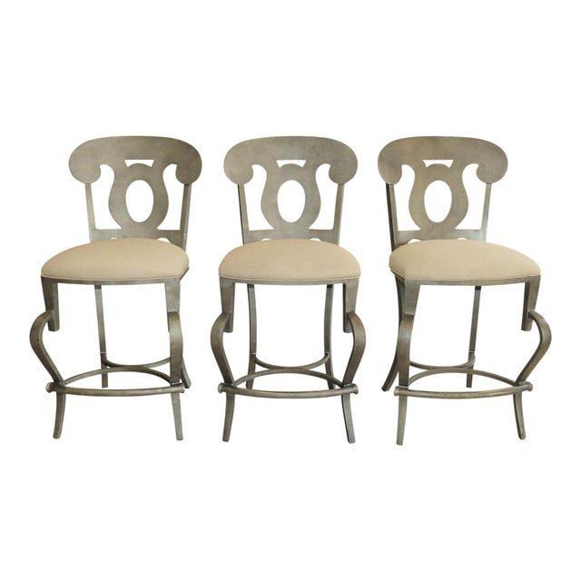 1990s Modern Biedermeier Style Metal Counter Stools - Set of 3 For Sale - Image 13 of 13
