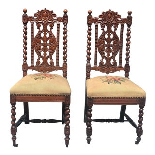Antique Gothic Victorian Quartersawn Oak Barley Twist Parlor Chairs - a Pair For Sale