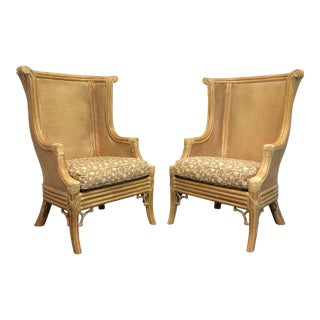 Lane Venture Faux Bamboo and Cane Wing Chairs - Pair For Sale