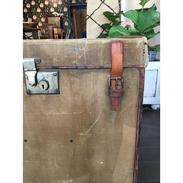 Red 20th Century Rustic Leather and Canvas Trunk For Sale - Image 8 of 13