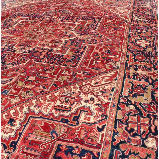 Red 1950s Vintage Persian Heriz Red Medallion Rug - 8′ × 11′9″ For Sale - Image 8 of 13