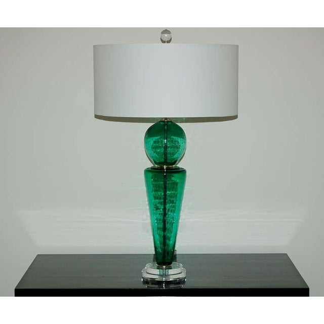 Vintage Murano Glass Table Lamps Green For Sale - Image 10 of 10