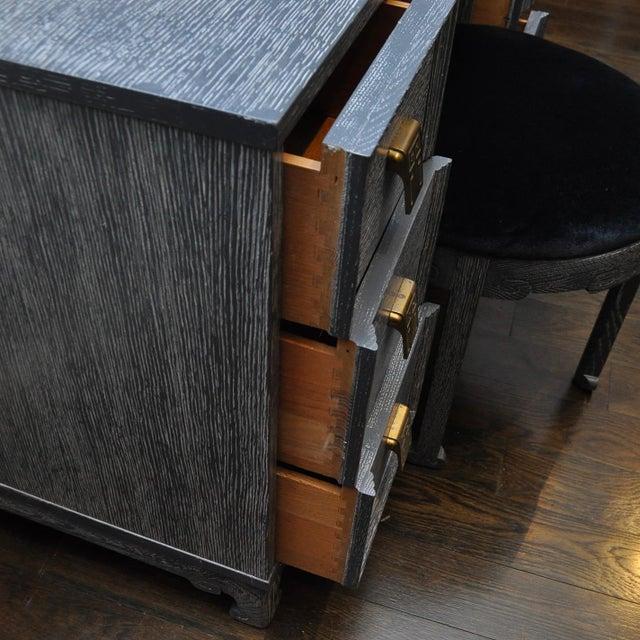 Mid Century Cerused Vanity & Stool For Sale - Image 9 of 10