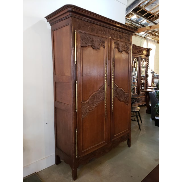 French Provencal Carved Walnut Armoire For Sale - Image 12 of 13