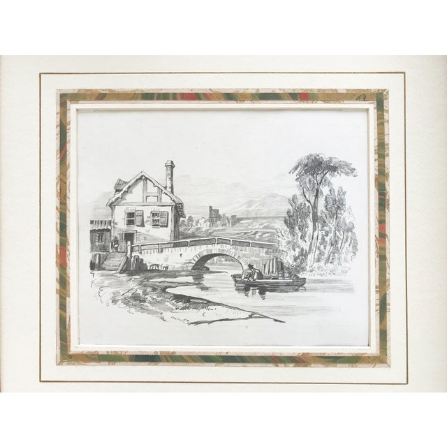 19th C French country landscape graphite drawing of a cottage on a river w/a bridge from an artists portfolio dated 1847....