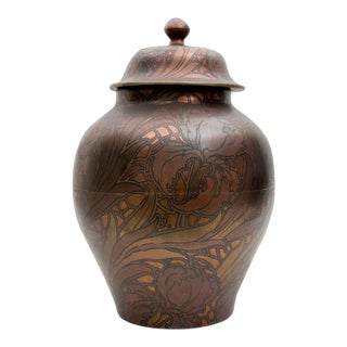 Boch Freres Keramis Large Copper Iris Pattern Lidded Jar For Sale