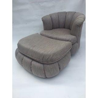 1980s Vintage Milo Baughman Style Shell Swivel Chair & Ottoman Preview