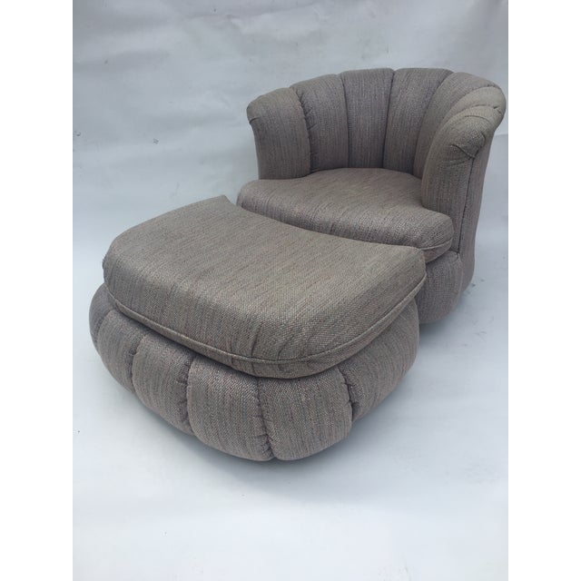 Vintage shell chair with ottoman. Shell like design, use as a chaise. Ottoman has removable pillow top. Beautiful design...