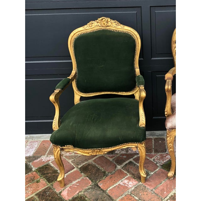 Wood Antique Gold Painted Louis Style Bergere Arm Chair For Sale - Image 7 of 7