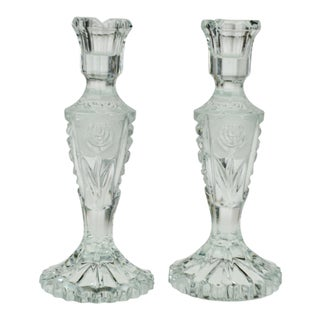 Vintage Heavy Clear Glass Candlesticks with Floral Pattern For Sale