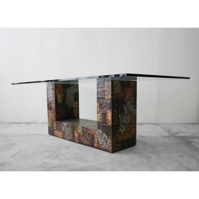 Copper Brutalist Metal Patchwork Pedestal Dining Table by Paul Evans For Sale - Image 8 of 8