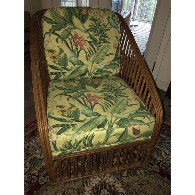 Vintage Bamboo With Waverly Fabric Club Chair For Sale In Atlanta - Image 6 of 7