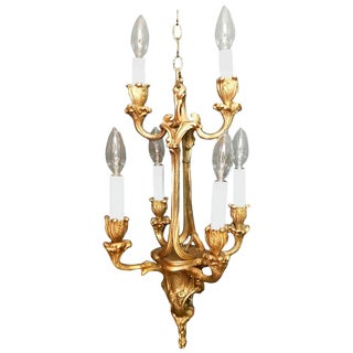French Gilt Bronze Six-Arm Louis XV Style Chandelier For Sale