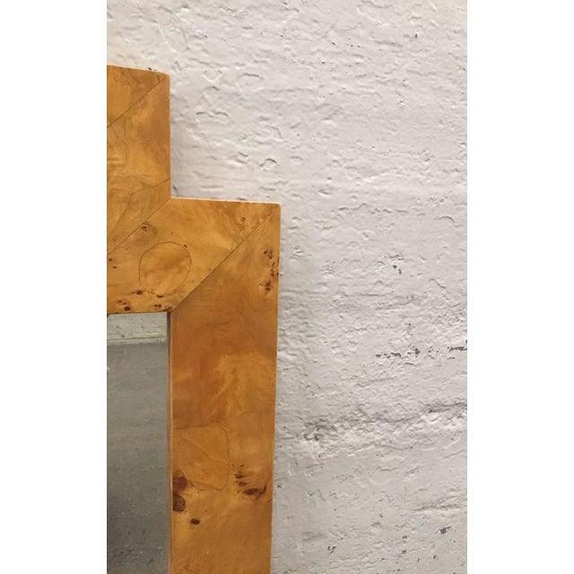 Geometric Italian burlwood framed mirror. Style of Milo Baughman.