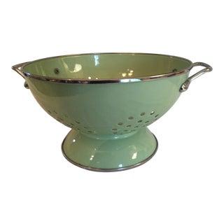 Vintage Enameled Sublime Green Colander For Sale