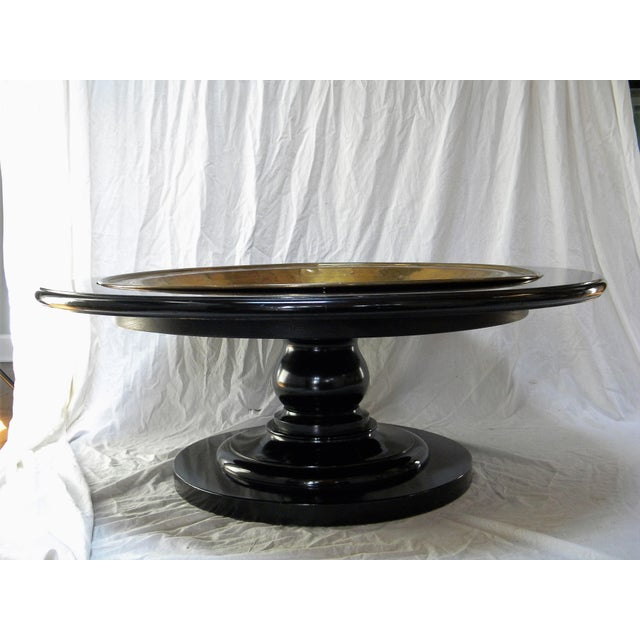 Black Lacquer Pedestal Coffee Table - Image 5 of 6