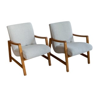 Pair of Early Jens Risom for Knoll Lounge Chairs For Sale