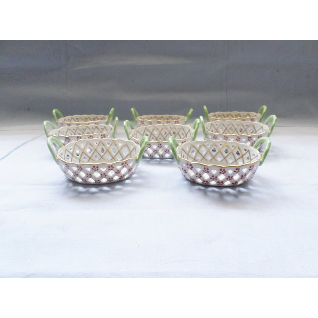 Vintage Herend Hungary Porcelain Lattice & Cherry Design Individual Nut or Sweetmeat Baskets - Set of 8 For Sale - Image 6 of 12