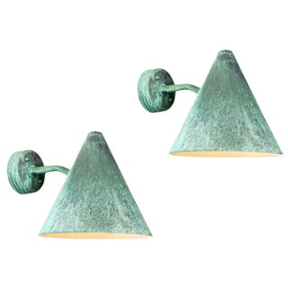 Hans-Agne Jakobsson 'Tratten' Darkly Patinated Copper Outdoor Sconces - a Pair For Sale