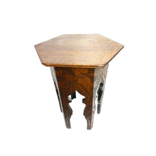 Antique Turn of the Century Substantial Hand Carved and Etched Solid Wood Moroccan Hexagon Accent Table For Sale