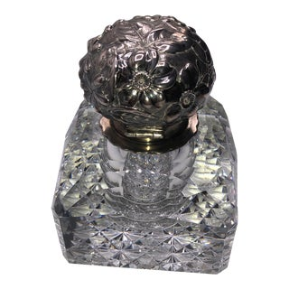 Antique Cut Glass and Sterling Inkwell For Sale