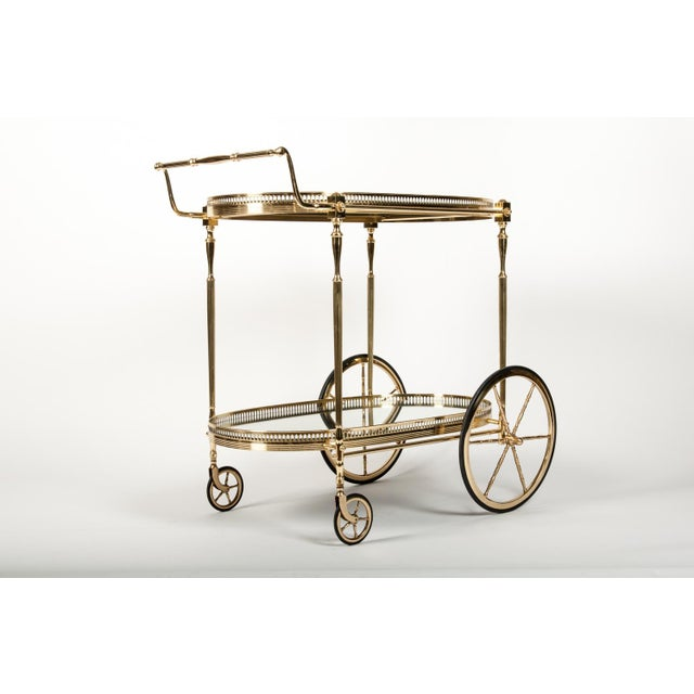French French Vintage Solid Brass Bar Cart with Mirrored Shelves For Sale - Image 3 of 5