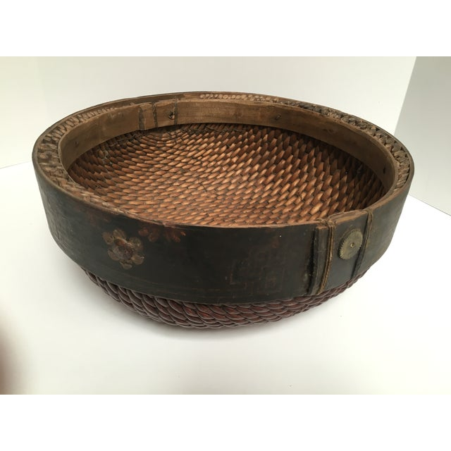 Hand Woven African Folk Art Basket - Image 4 of 10