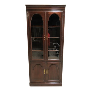 Ethan Allen Georgian Court Chippendale Curio Bookshelf Display Cabinet