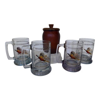 Vintage Glass Humidor & Crystal Beer Mugs- Set of 5