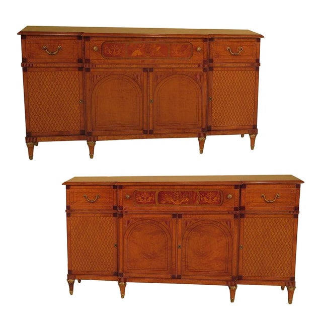 Italian Inlaid Walnut Sideboards - A Pair - Image 1 of 11
