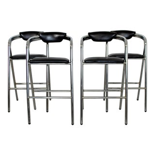 Mid Century Modern Chrome & Black Leather Bar Stools Industrial 1970s - Set of 4 For Sale