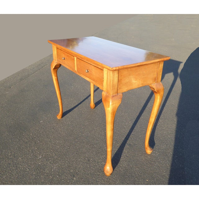 1950s 1970s Queen Anne Birch Wood Cedar Lined Two Drawer Writing Desk With Leaf Inlay For Sale - Image 5 of 13