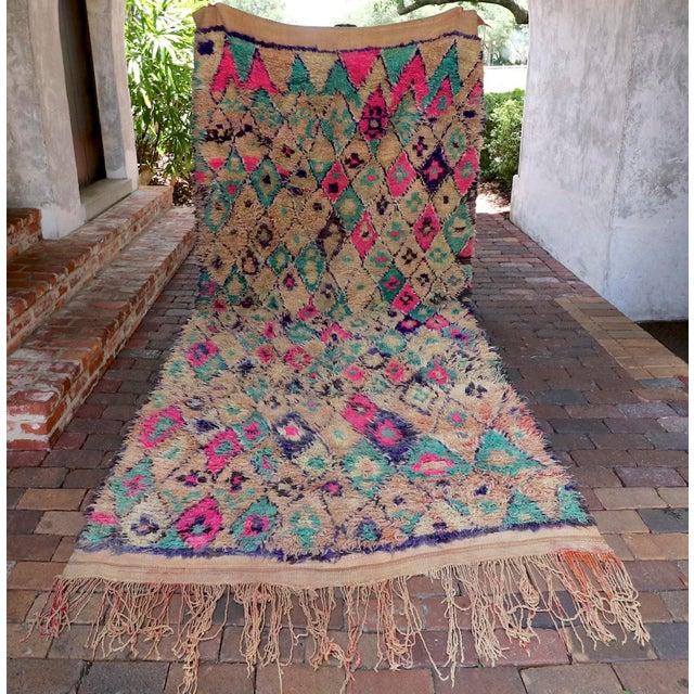 Vintage Moroccan Teal & Purple Talsint Rug - 6′5″ × 11′11″ - Image 2 of 7