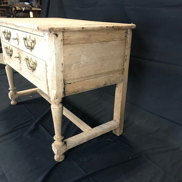 1920s French Rustic Naturally Distressed Two Drawer Console Table Commode For Sale - Image 5 of 12
