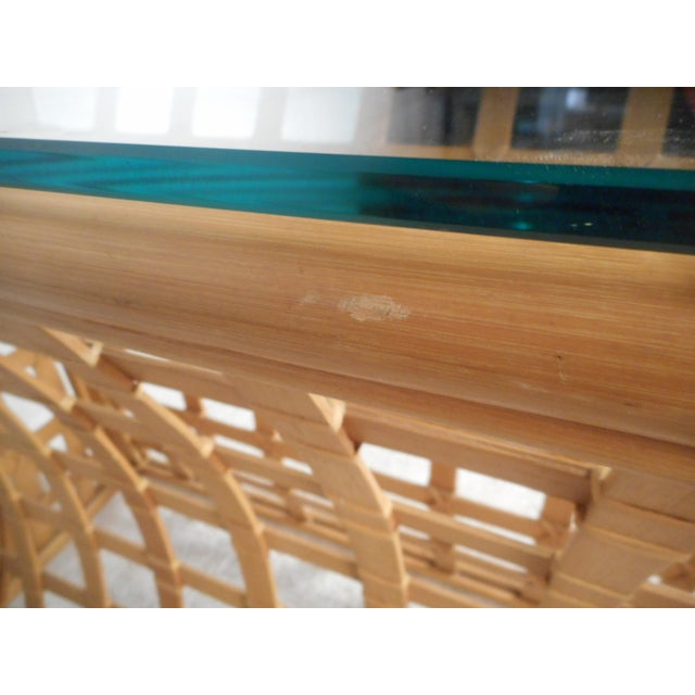 Vintage Modern Bamboo and Glass Console Table For Sale - Image 9 of 12