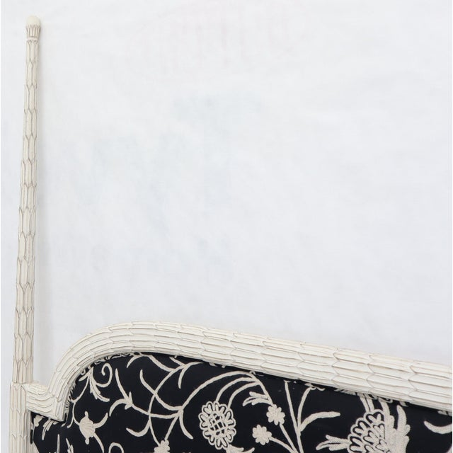 Black Upholstered Decorative Black and White Fabric King Size Poster Headboard For Sale - Image 8 of 12
