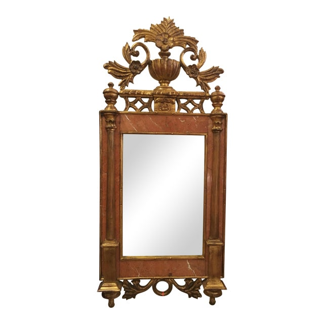 Antique Italian Sienna Marble & Giltwood Mirror - Image 1 of 4