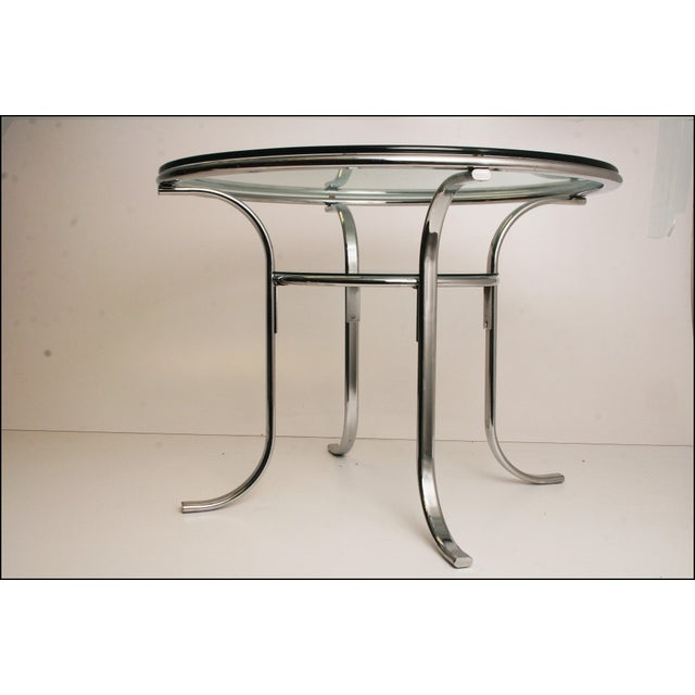 Mid-Century Modern Chrome & Glass Dining Table - Image 7 of 11
