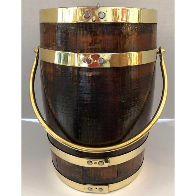 Antique Brass Banded & Wood Lidded Ice Cooler With Initials For Sale In West Palm - Image 6 of 12