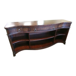 English Traditional Henredon Furniture Westbury Manor Mahogany Flame & Burl Console Table For Sale