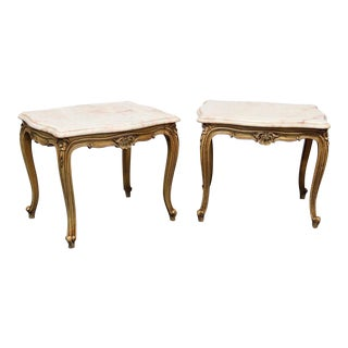 French Provincial Style Marble Top Side Tables - A Pair